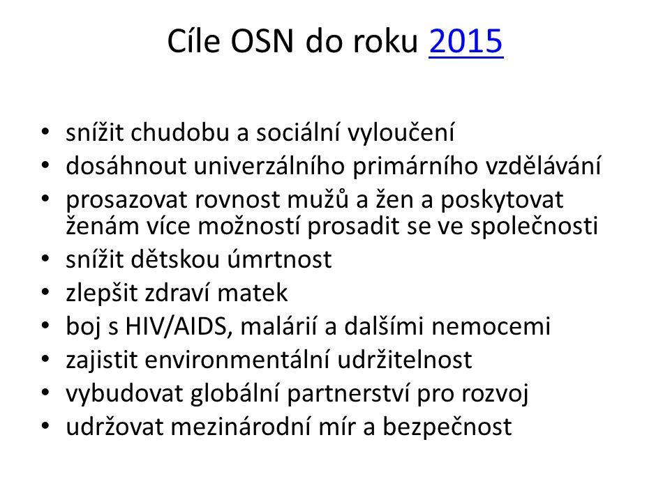Cíle OSN do roku 2015 snížit chudobu a sociální vyloučení
