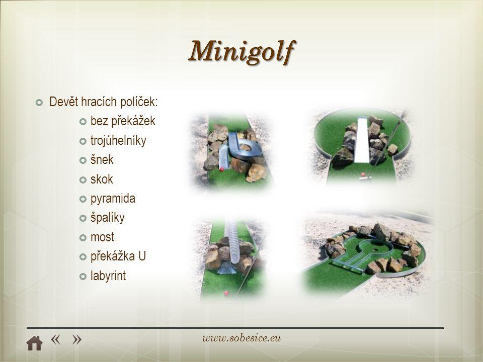 Minigolf Devět hracích políček: bez překážek trojúhelníky šnek skok
