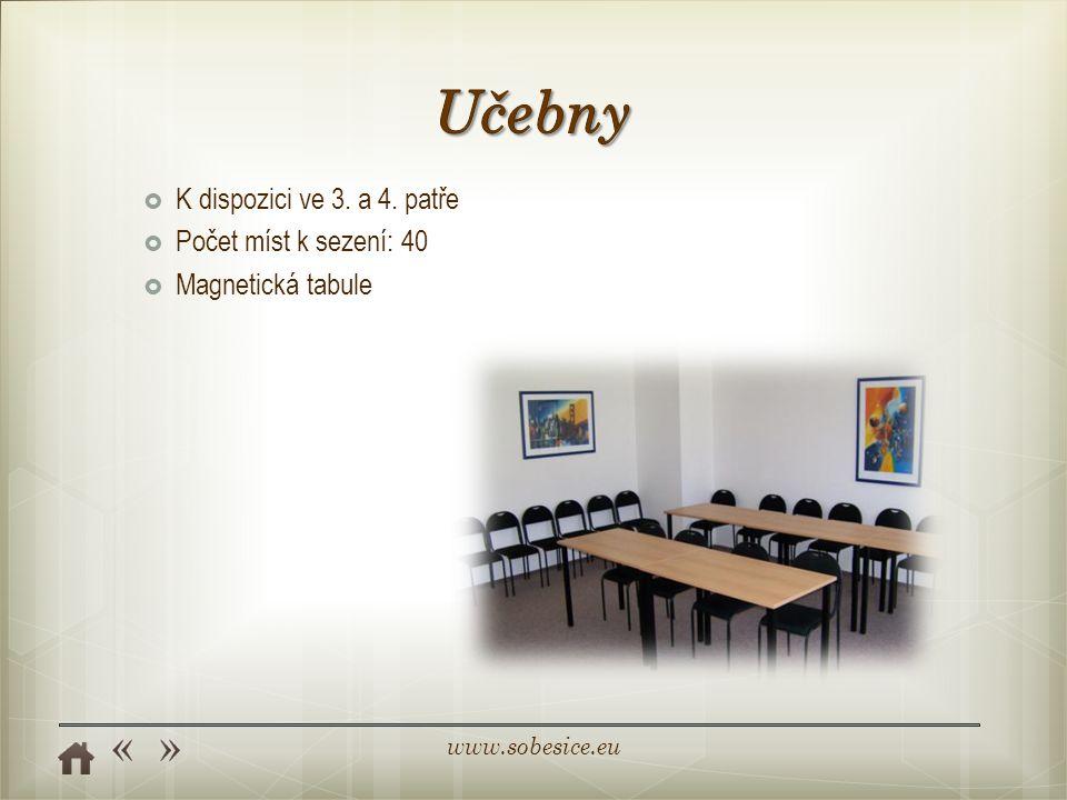 Učebny K dispozici ve 3. a 4. patře Počet míst k sezení: 40