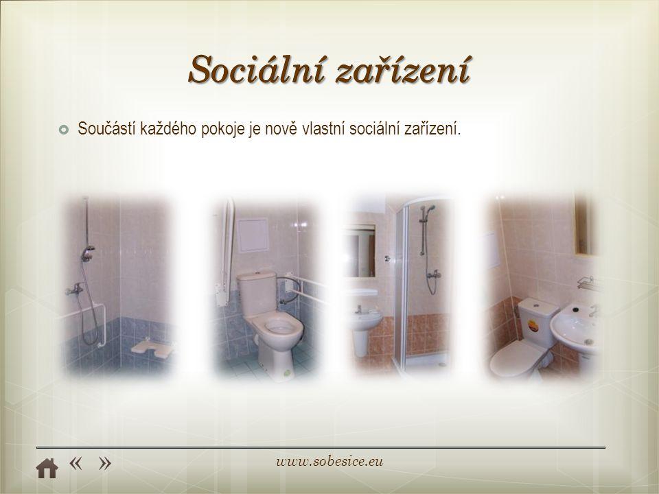 Sociální zařízení Součástí každého pokoje je nově vlastní sociální zařízení.