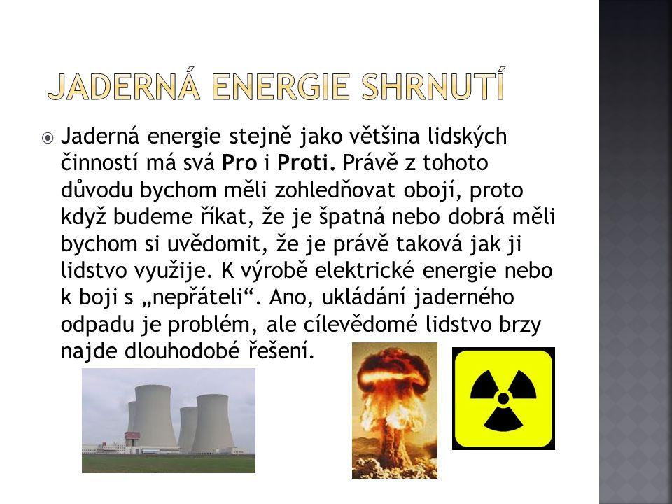 jaderná energie Shrnutí