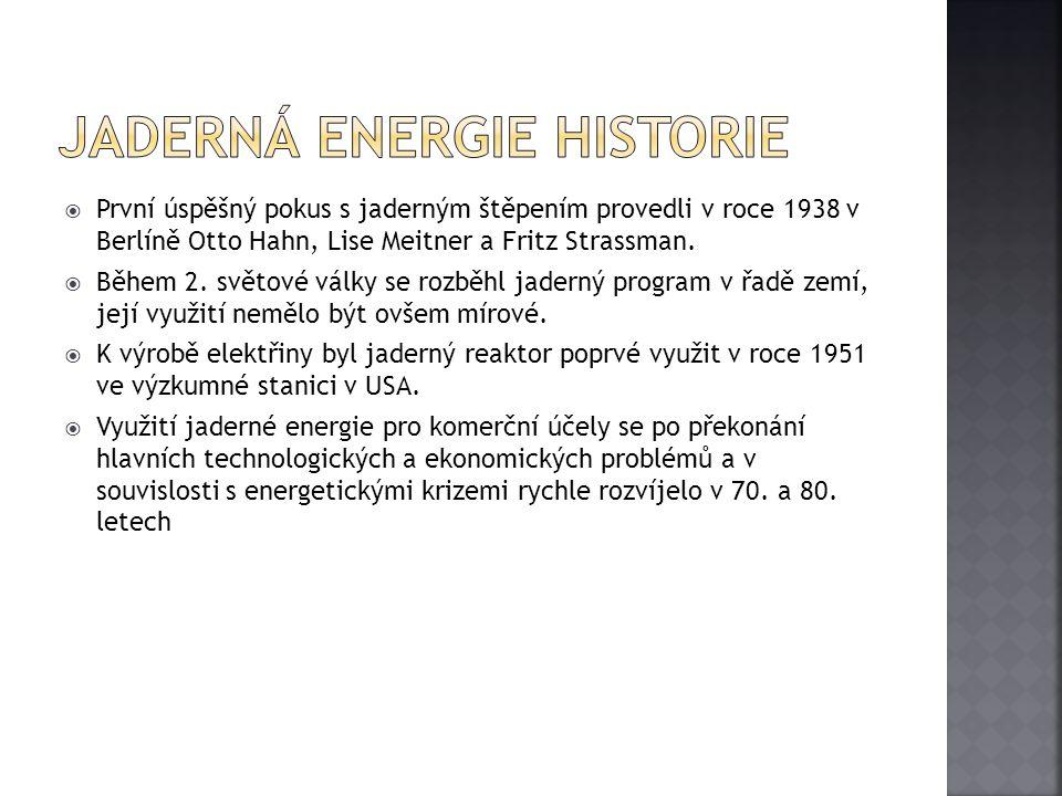 Jaderná energie historie