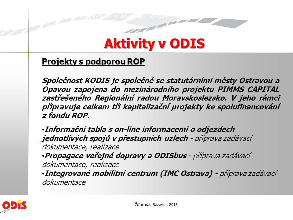 Aktivity v ODIS Projekty s podporou ROP