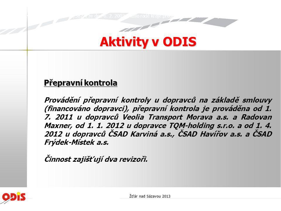 Aktivity v ODIS Přepravní kontrola