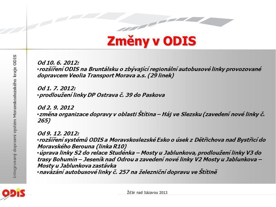 Změny v ODIS Od 10. 6. 2012: