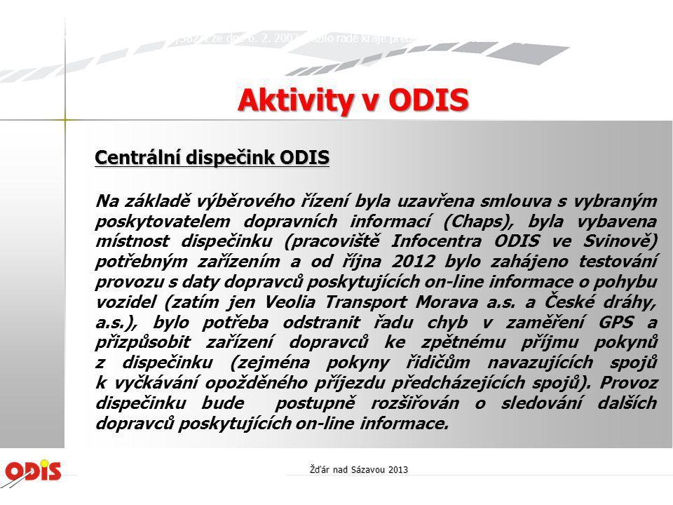 Aktivity v ODIS Centrální dispečink ODIS