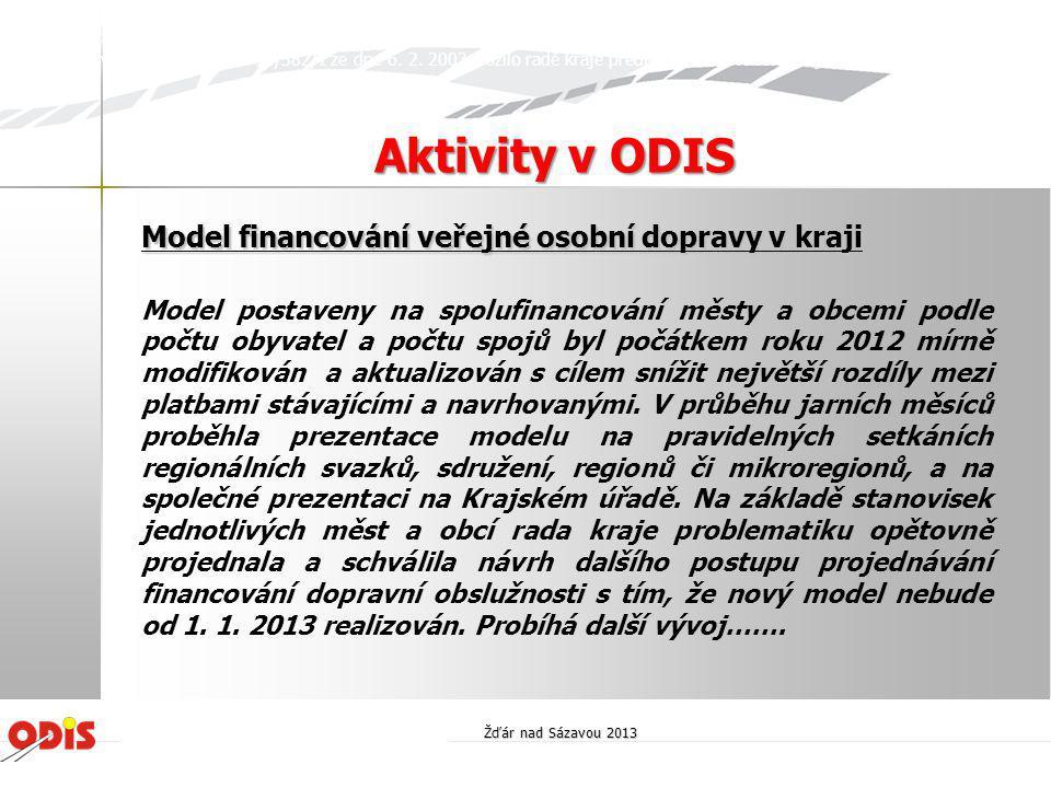 Aktivity v ODIS Model financování veřejné osobní dopravy v kraji