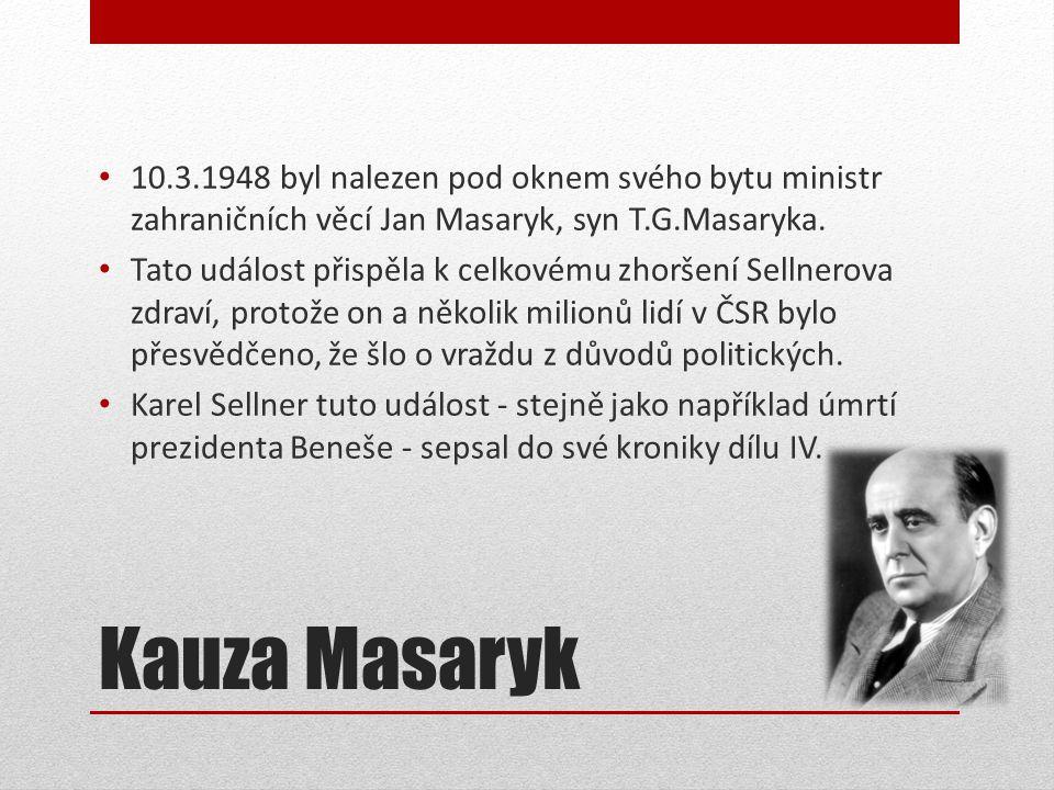 10.3.1948 byl nalezen pod oknem svého bytu ministr zahraničních věcí Jan Masaryk, syn T.G.Masaryka.