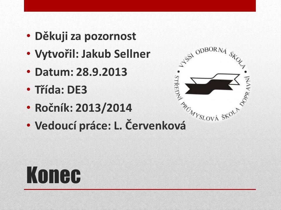 Konec Děkuji za pozornost Vytvořil: Jakub Sellner Datum: 28.9.2013