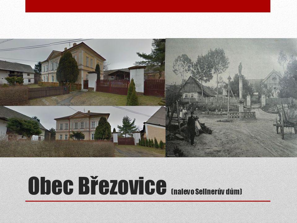Obec Březovice (nalevo Sellnerův dům)