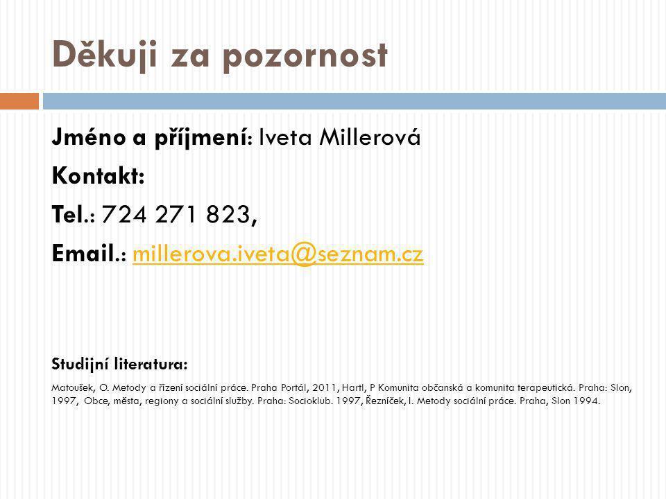Děkuji za pozornost Jméno a příjmení: Iveta Millerová Kontakt: