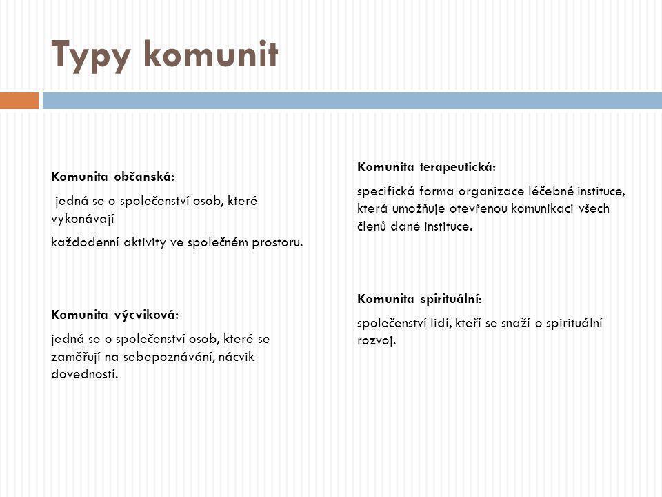 Typy komunit Komunita terapeutická: