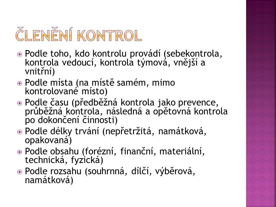 Členění kontrol Podle toho, kdo kontrolu provádí (sebekontrola, kontrola vedoucí, kontrola týmová, vnější a vnitřní)