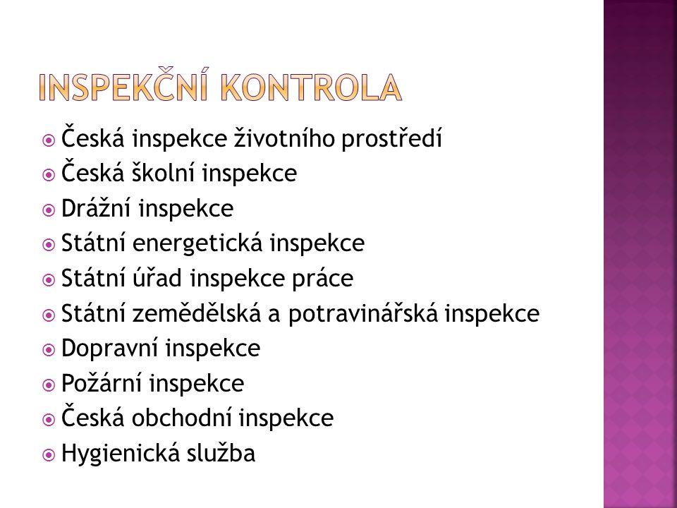 Inspekční kontrola Česká inspekce životního prostředí