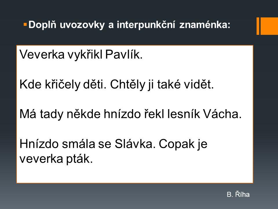 Veverka vykřikl Pavlík. Kde křičely děti. Chtěly ji také vidět.
