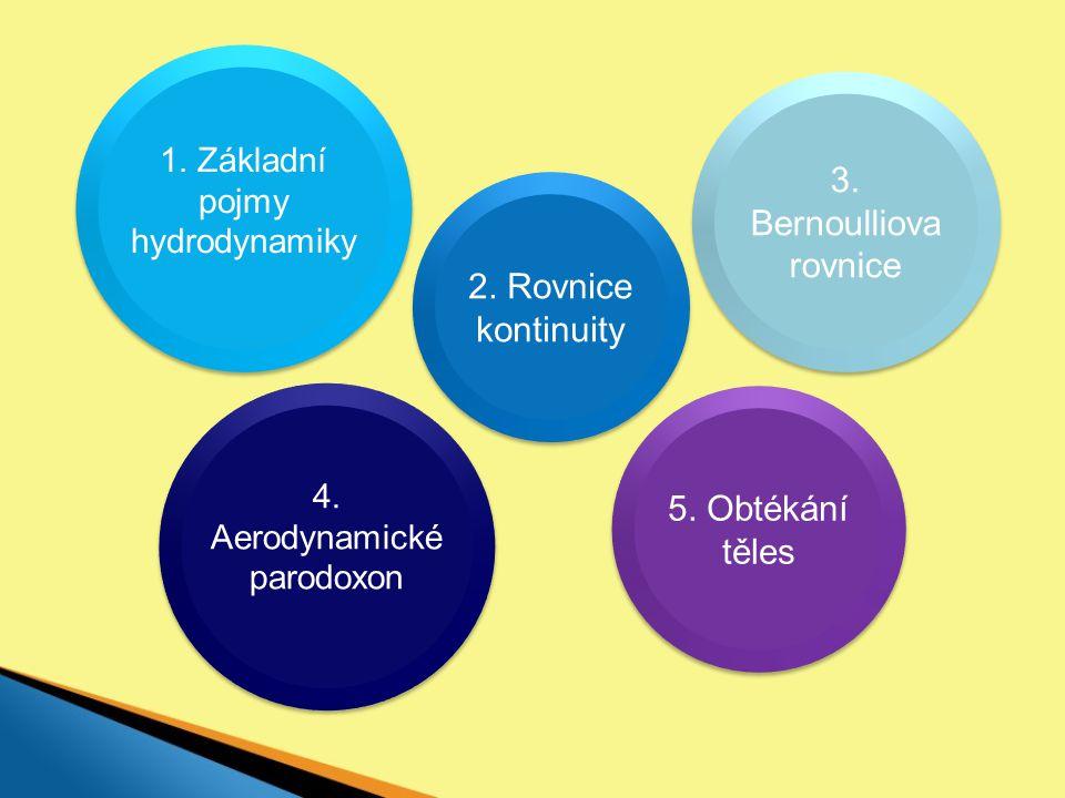 3. Bernoulliova rovnice 2. Rovnice kontinuity 5. Obtékání těles