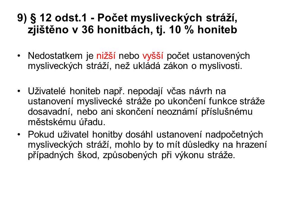 9) § 12 odst.1 - Počet mysliveckých stráží, zjištěno v 36 honitbách, tj. 10 % honiteb