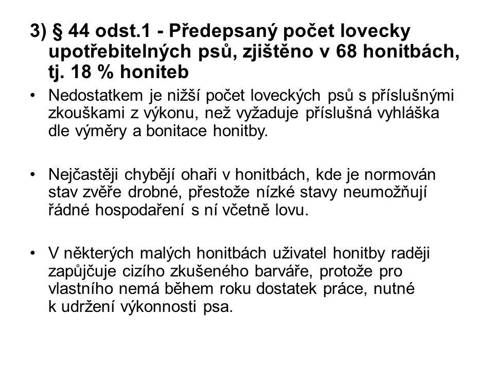 3) § 44 odst.1 - Předepsaný počet lovecky upotřebitelných psů, zjištěno v 68 honitbách, tj. 18 % honiteb