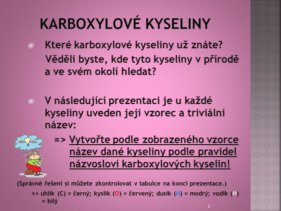 Karboxylové kyseliny Které karboxylové kyseliny už znáte