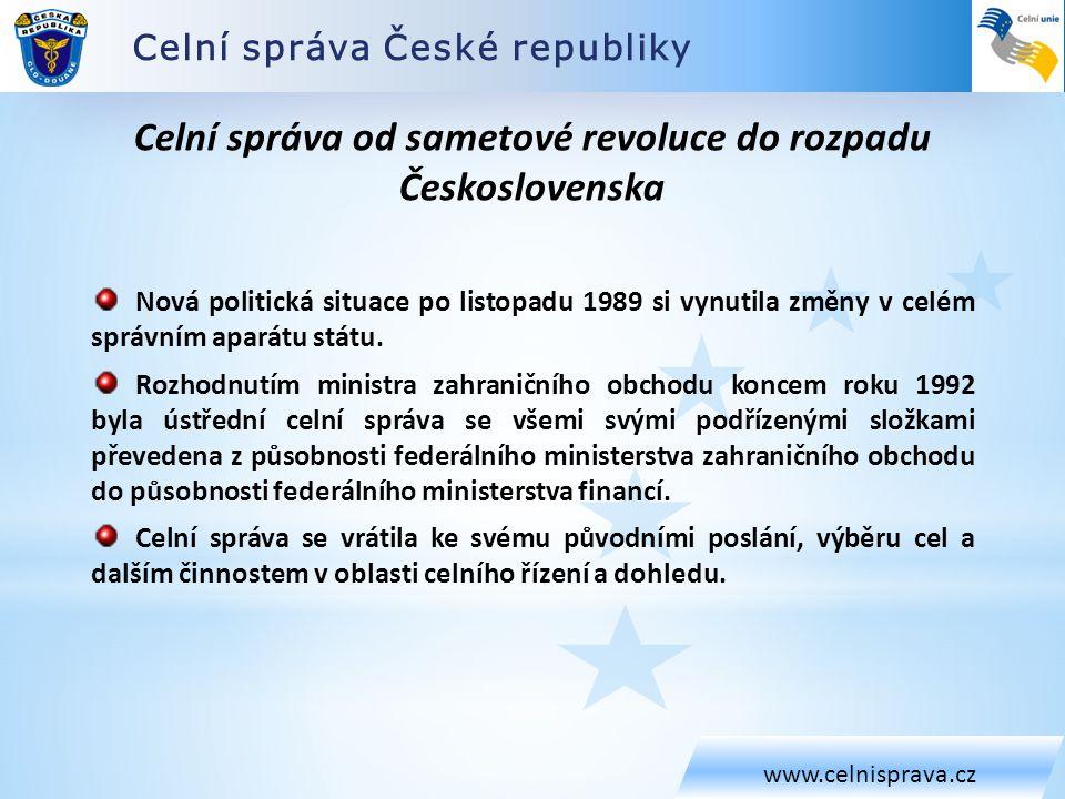 Celní správa od sametové revoluce do rozpadu Československa
