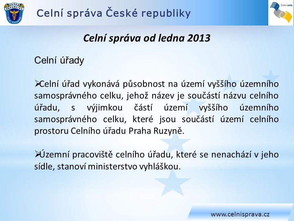 Celní správa od ledna 2013 Celní správa České republiky Celní úřady