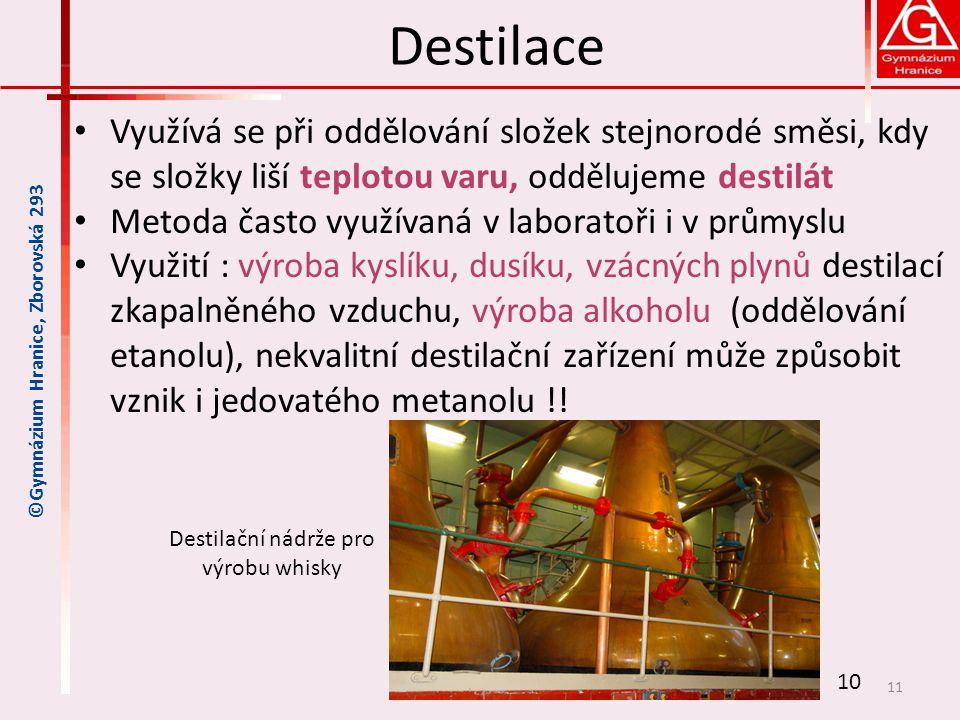 Destilační nádrže pro výrobu whisky