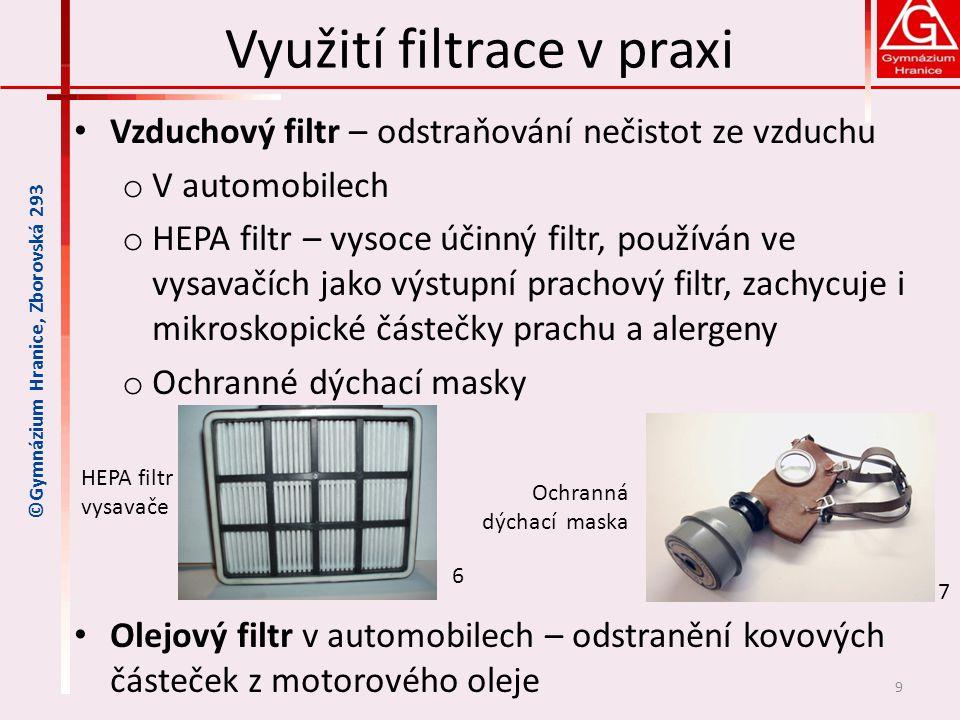 Využití filtrace v praxi