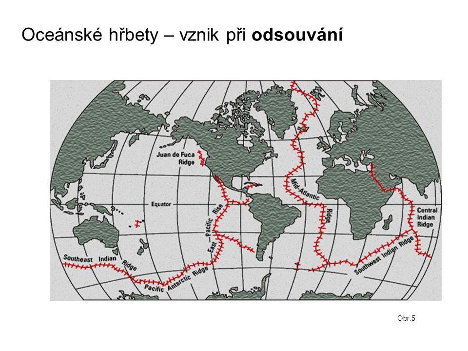 Oceánské hřbety – vznik při odsouvání