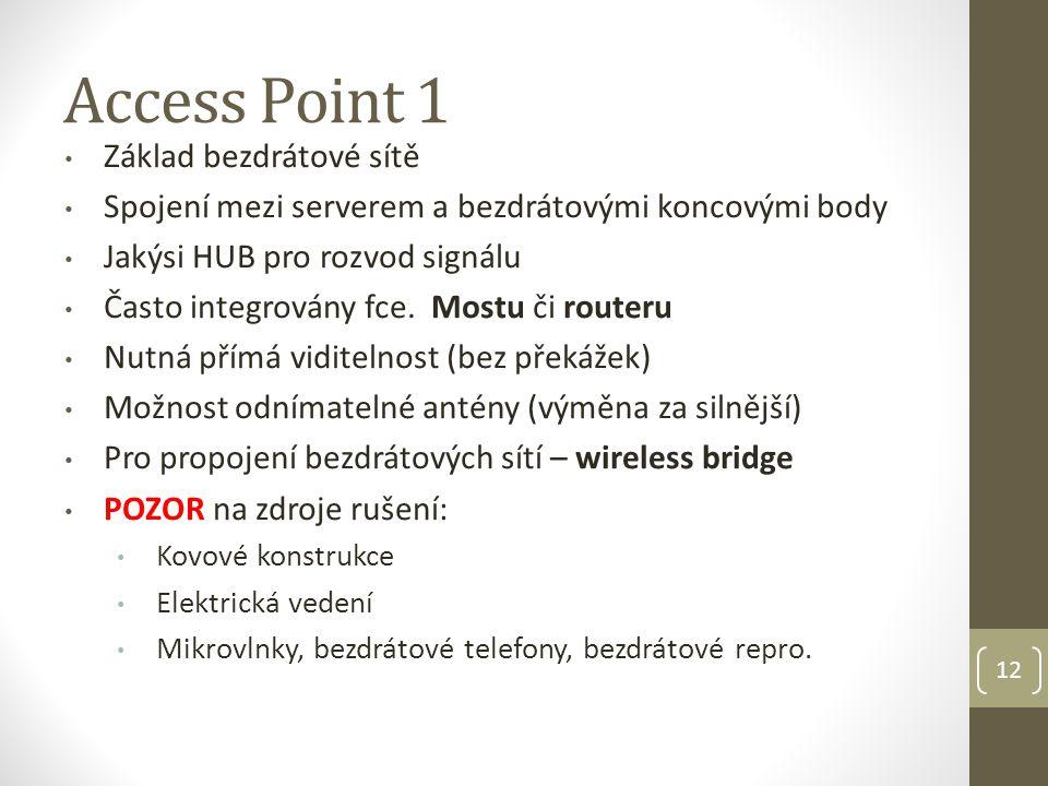 Access Point 1 Základ bezdrátové sítě