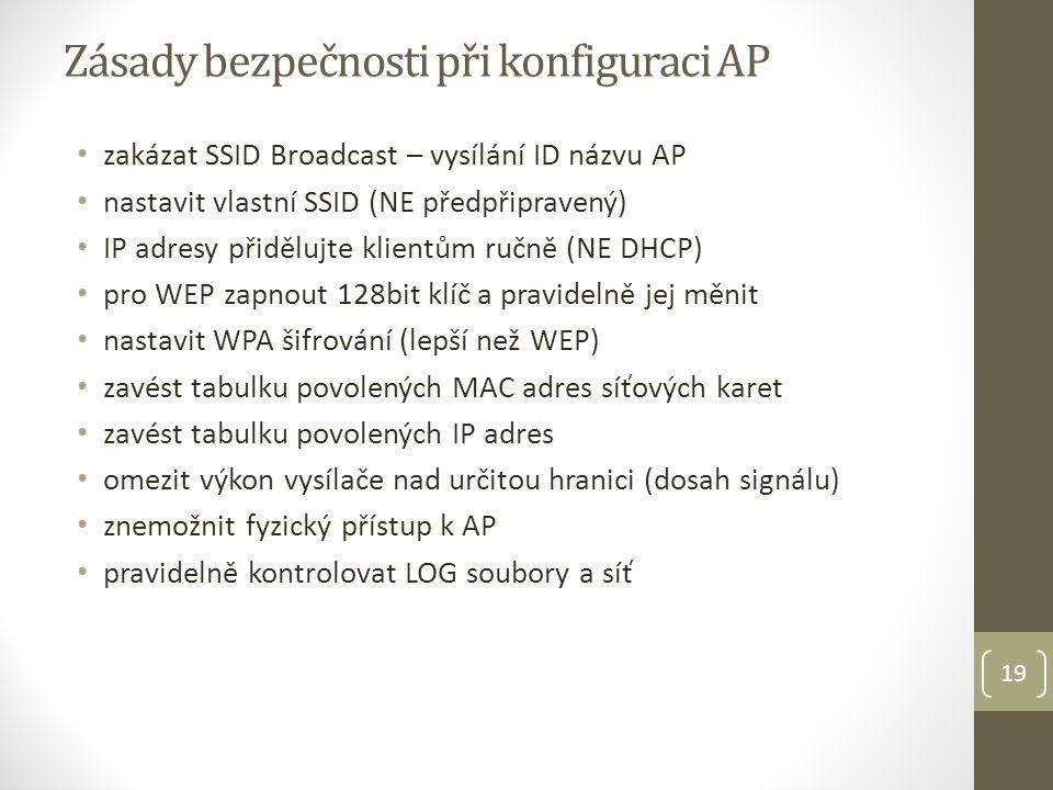 Zásady bezpečnosti při konfiguraci AP
