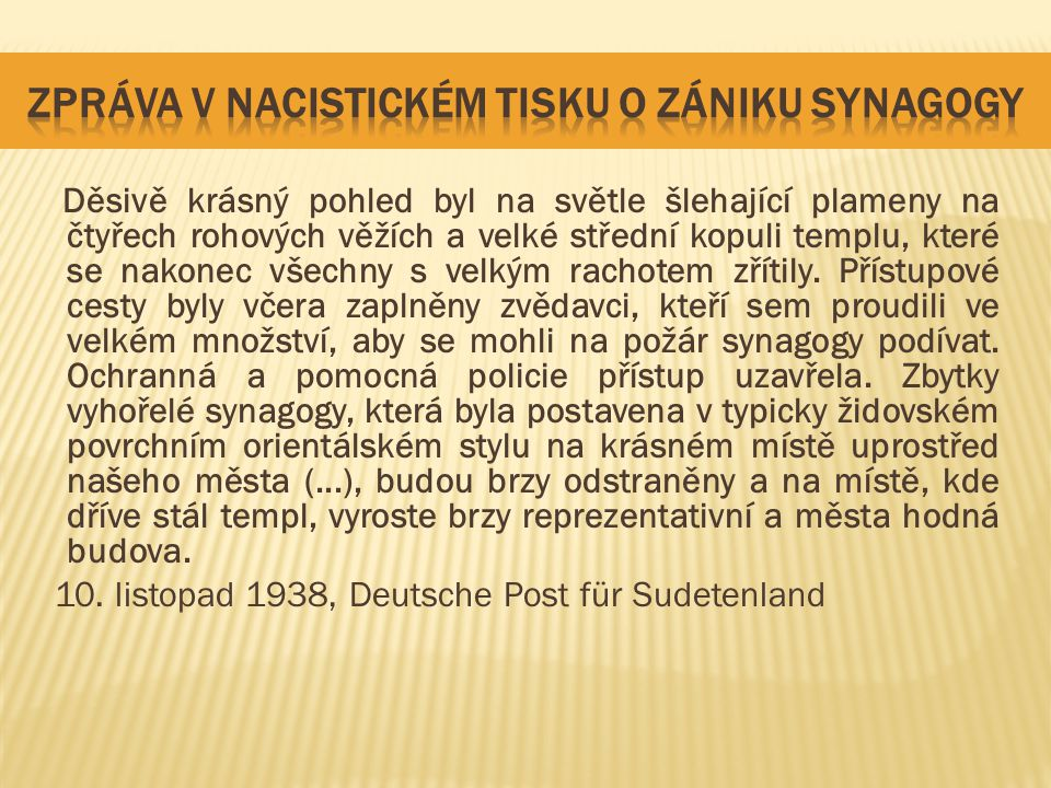 zpráva v nacistickém tisku o zániku synagogy
