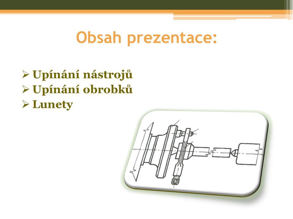 Obsah prezentace: Upínání nástrojů Upínání obrobků Lunety