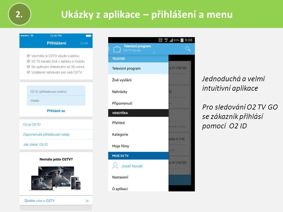 Ukázky z aplikace – přihlášení a menu