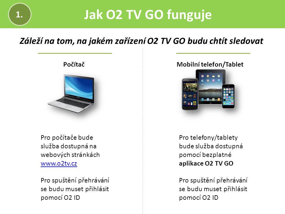 Jak O2 TV GO funguje 1. Záleží na tom, na jakém zařízení O2 TV GO budu chtít sledovat. Počítač. Mobilní telefon/Tablet.