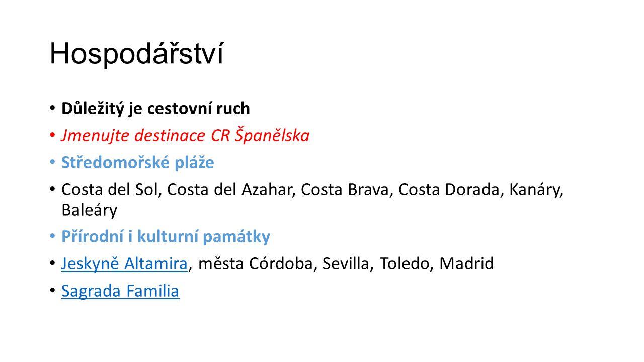 Hospodářství Důležitý je cestovní ruch Jmenujte destinace CR Španělska