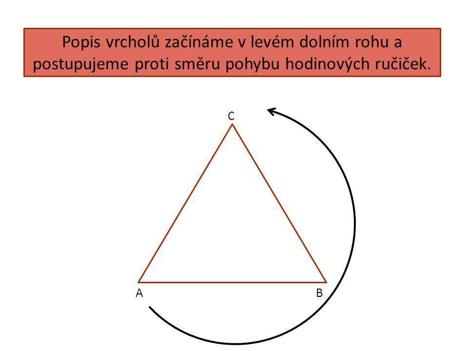Popis vrcholů začínáme v levém dolním rohu a postupujeme proti směru pohybu hodinových ručiček.