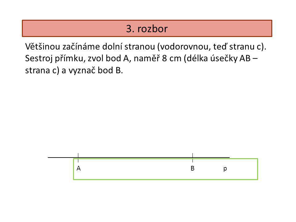 3. rozbor Většinou začínáme dolní stranou (vodorovnou, teď stranu c).