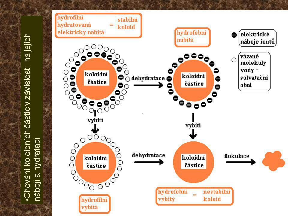 Chování koloidních částic v závislosti na jejich náboji a hydrataci