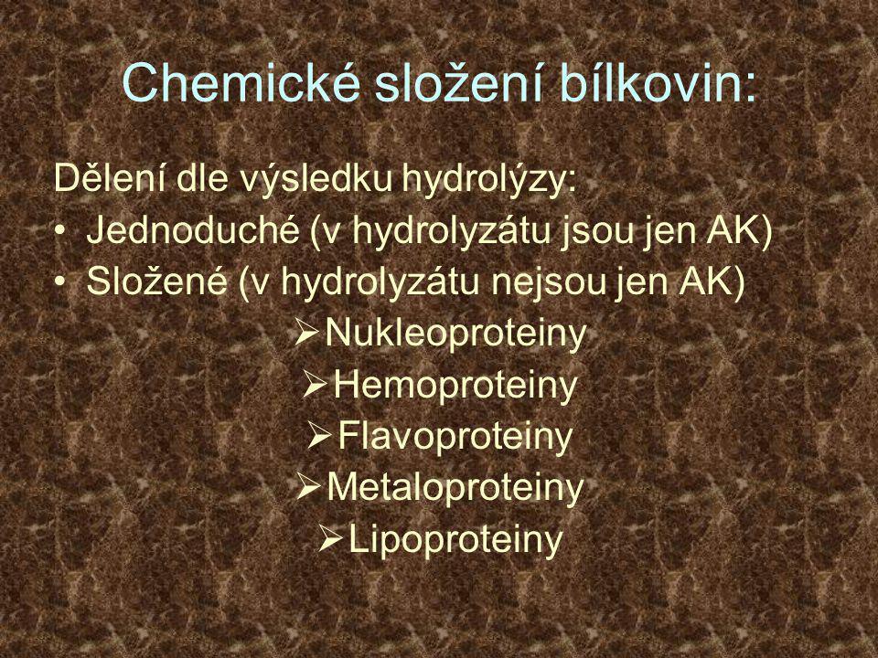 Chemické složení bílkovin: