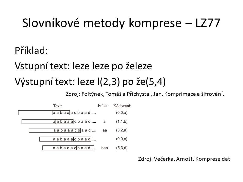 Slovníkové metody komprese – LZ77