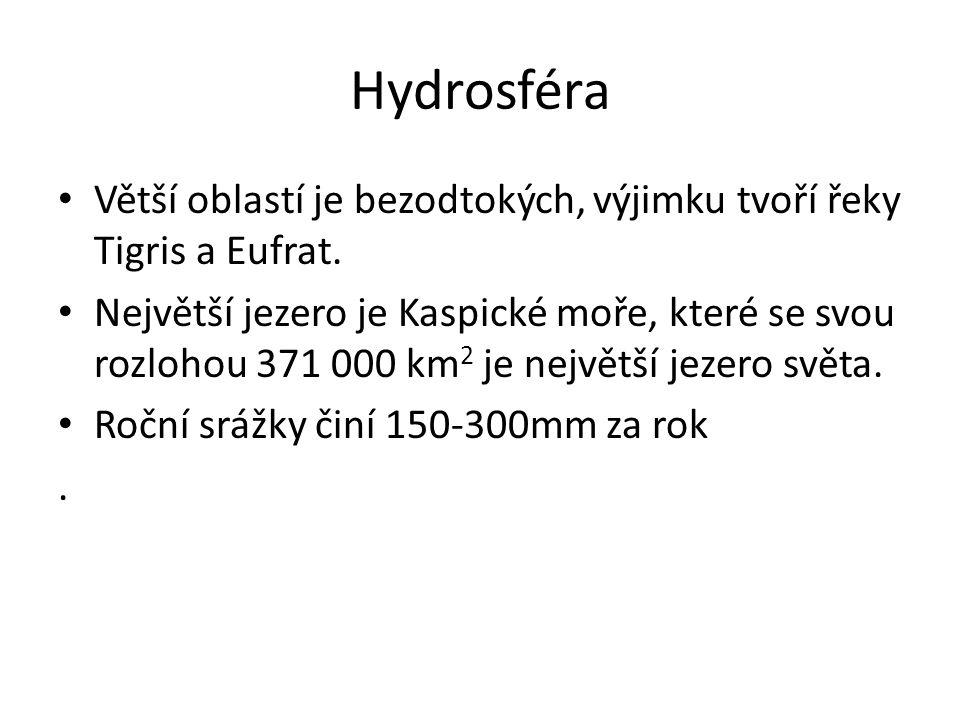 Hydrosféra Větší oblastí je bezodtokých, výjimku tvoří řeky Tigris a Eufrat.