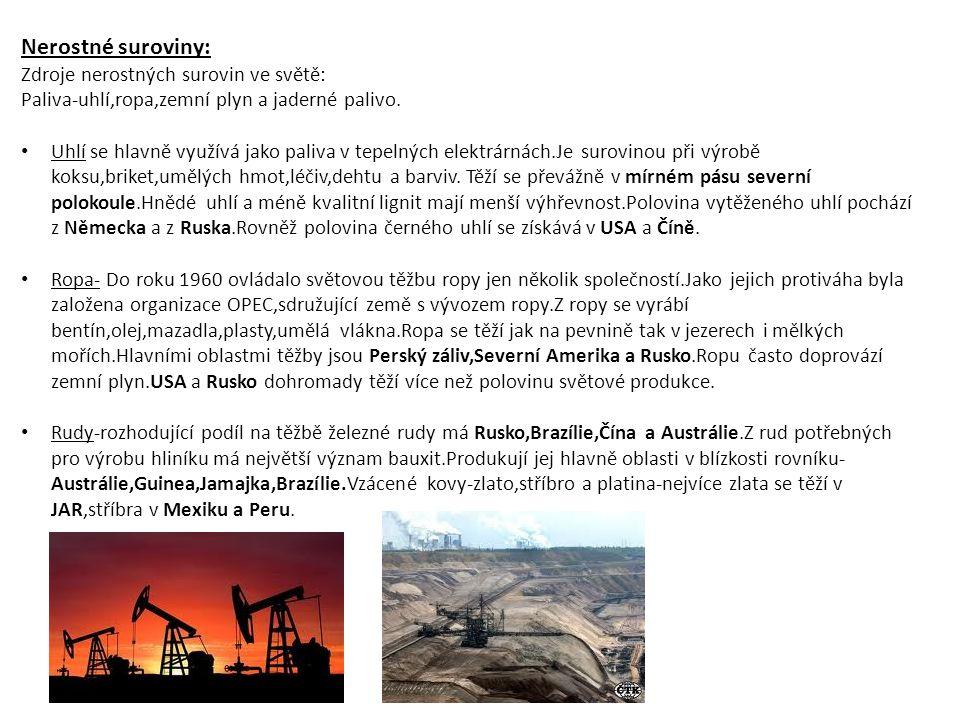 Nerostné suroviny: Zdroje nerostných surovin ve světě: