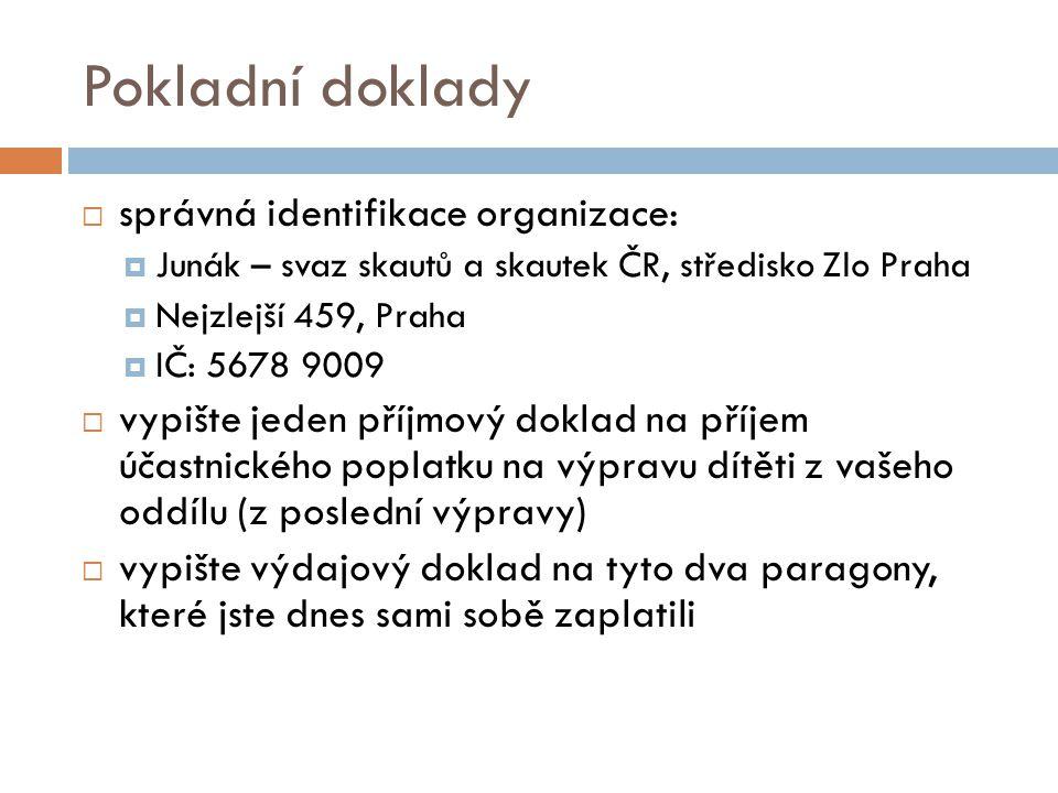 Pokladní doklady správná identifikace organizace: