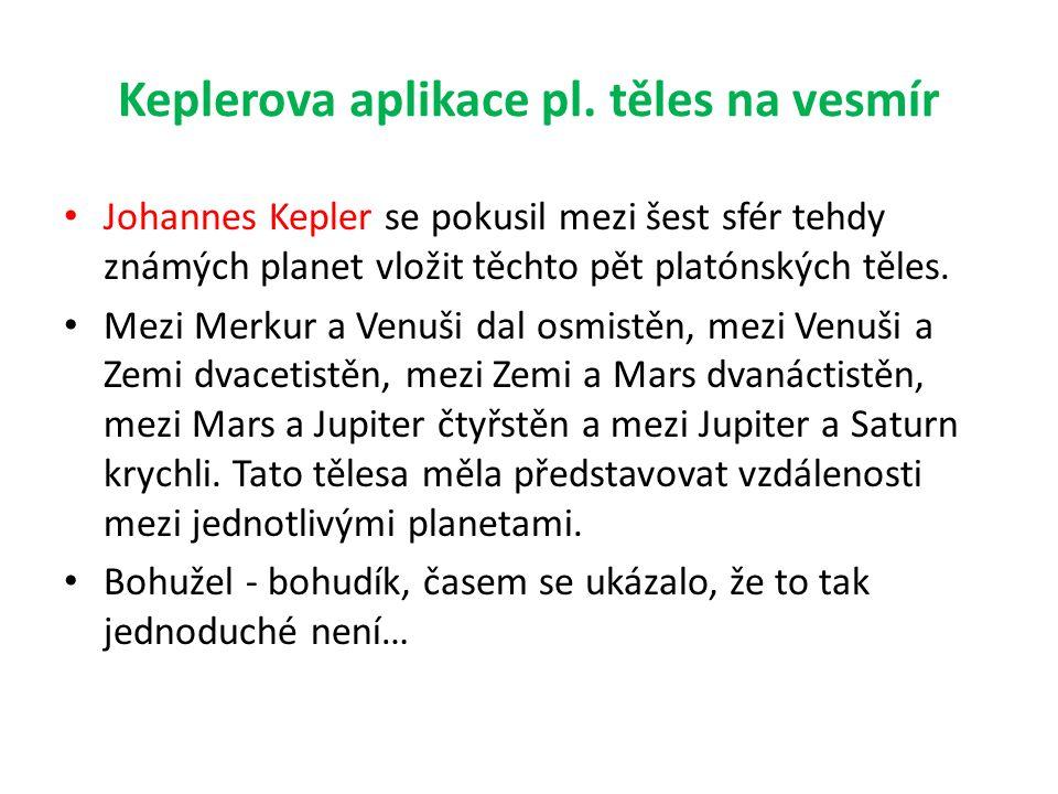 Keplerova aplikace pl. těles na vesmír