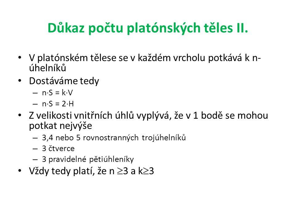 Důkaz počtu platónských těles II.