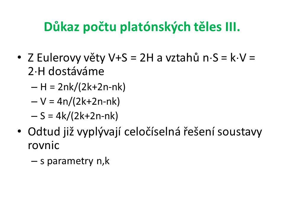 Důkaz počtu platónských těles III.