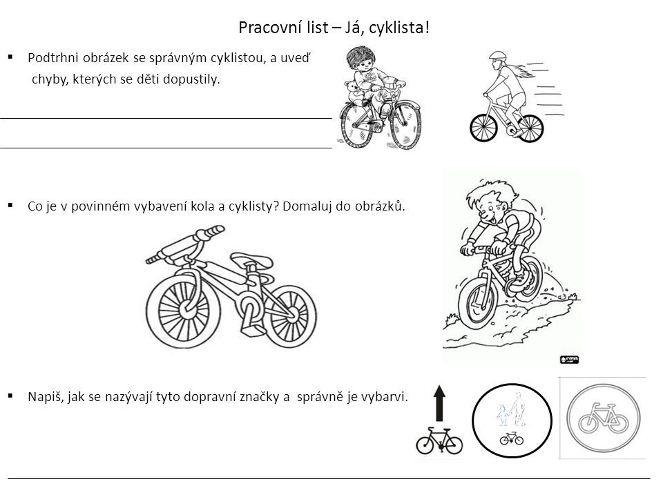 Pracovní list – Já, cyklista!