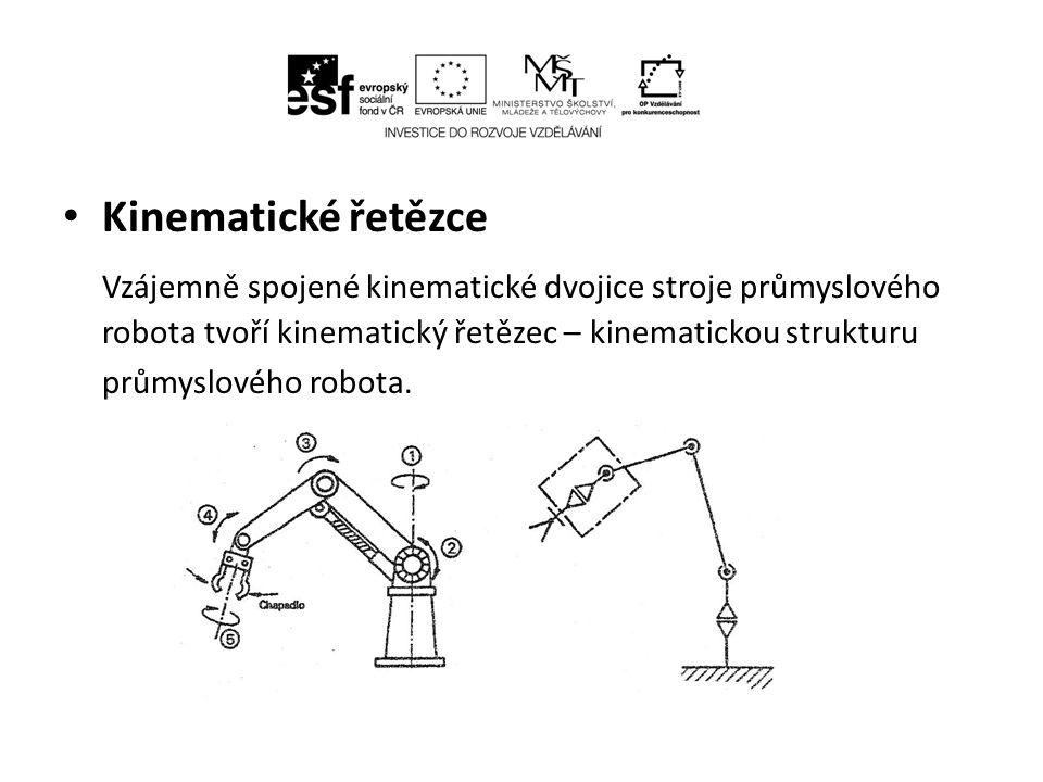 Kinematické řetězce Vzájemně spojené kinematické dvojice stroje průmyslového robota tvoří kinematický řetězec – kinematickou strukturu.