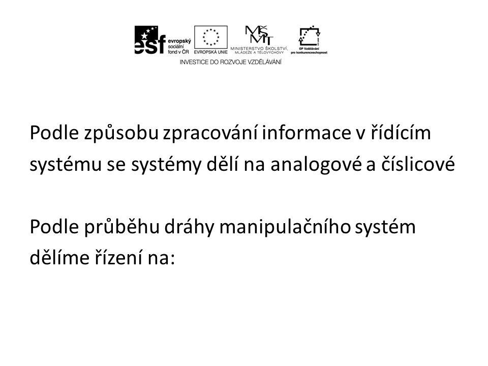 Podle způsobu zpracování informace v řídícím systému se systémy dělí na analogové a číslicové Podle průběhu dráhy manipulačního systém dělíme řízení na: