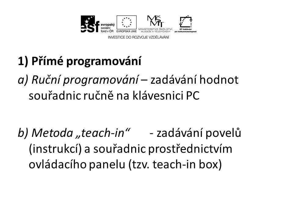 1) Přímé programování a) Ruční programování – zadávání hodnot souřadnic ručně na klávesnici PC.